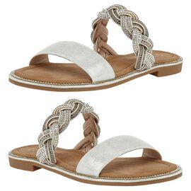Lotus Diamante Josie Mule Sandals in Silver Colour