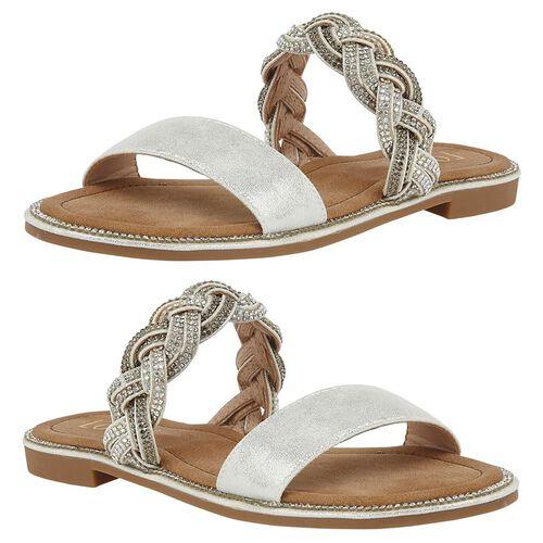 Lotus Diamante Josie Mule Sandals (Size 6) - Silver