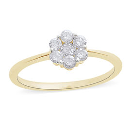 Limited Edition- 9K Y Gold SGL Certified Pressure-Set Diamond (Rnd) (I3/G-H) Floral Ring 0.500 Ct.