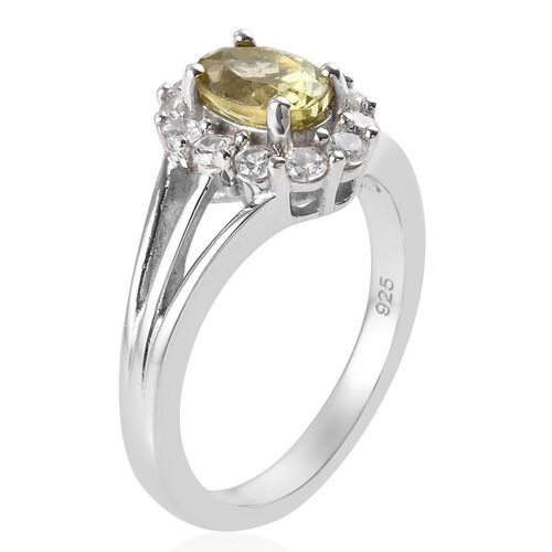 AA Madagascar Yellow Apatite (Ovl 7x5mm), Natural Cambodian Zircon Ring in Platinum Overlay Sterling Silver 1.34 Ct.