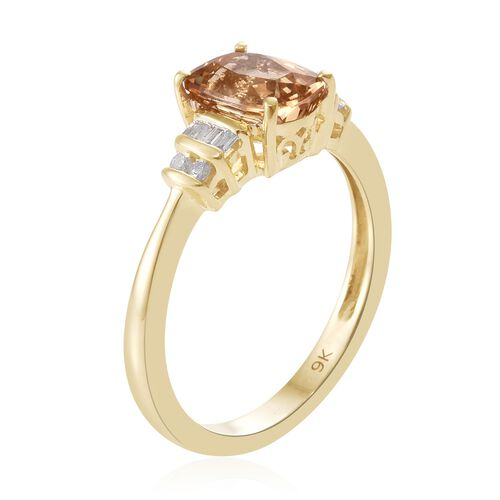 Exclusive Edition- 9K Y Gold AAA Imperial Topaz (Cush 1.65 Ct), Diamond Ring 1.750 Ct.