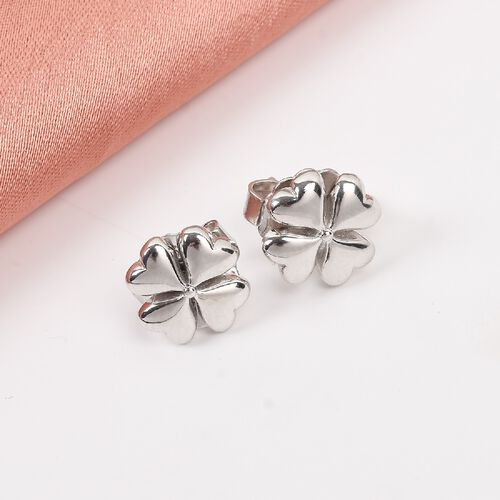 RACHEL GALLEY Platinum Overlay Sterling Silver 4-Leaf Clover Stud Earrings (with Push Back)