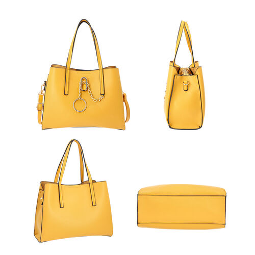 LOCK SOUL Yellow Handbag with Detachable Shoulder Strap (31x13x23cm)