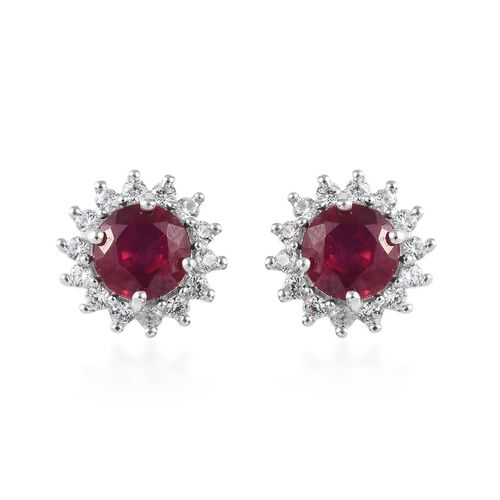 9K White Gold AAA African Ruby (Rnd), Natural Cambodian Zircon Halo Stud Earrings (with Push Back) 3