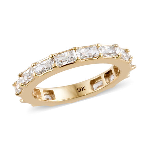 J Francis - 9K Yellow Gold (Bgt) Full Eternity Band Ring Made with SWAROVSKI ZIRCONIA, Gold wt 3.20 Gms.