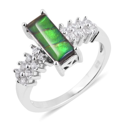 AA Canadian Ammolite (Bgt 12x5 mm), Natural White Cambodian Zircon Ring in Rhodium Overlay Sterling Silver