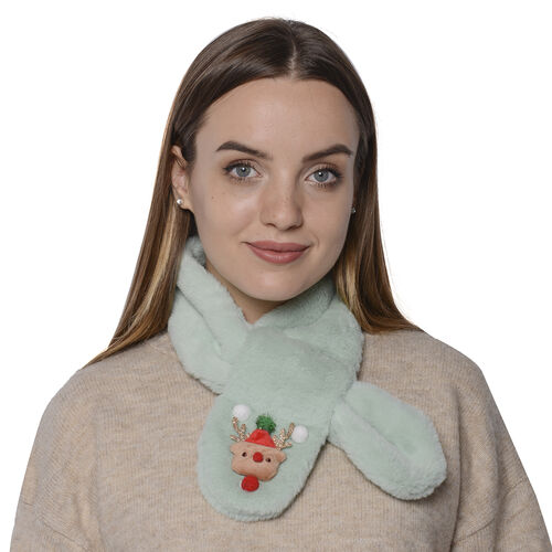 Set of 2 - 3D Bear and Bell Pattern Kids Faux Fur Scarf (10x80cm) - Green and Blue
