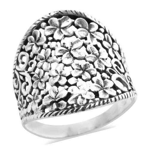 Royal Bali Collection Plumeria Flower Ring in Sterling Silver