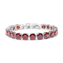Simulated Ruby Bracelet (Size 8 with Extender) in Silver Tone