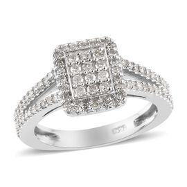Diamond (Rnd) Cluster Ring in Platinum Overlay Sterling Silver 0.50 Ct.