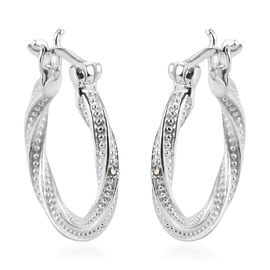 Diamond Hoop Earrings (with Clasp) in Sterling Silver