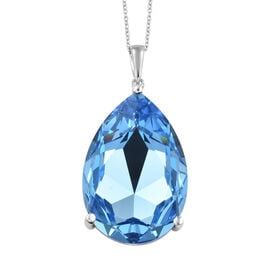 J Francis Crystal from Swarovski - Aquamarine Colour Crystal (Pear) Pendant With Chain (Size 20) in