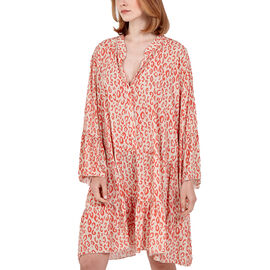 TAMSY Digital Leopard Print Button Detail Smock Dress (Length 87cm) - Coral