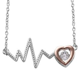 J Francis - Rose Gold and Platinum Overlay Sterling Silver (Rnd) Lifeline Pulse Heartbeat Necklace (