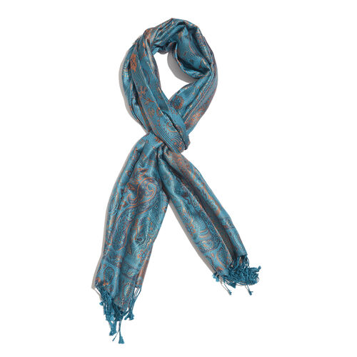 SILK MARK - 100% Superfine Silk Blue, Orange and Multi Colour Paisley and Floral Pattern Reversible