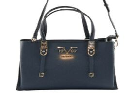 19V69 ITALIA by Alessandro Versace Litchi Pattern Handbag with Detachable Shoulder Strap and Zipper