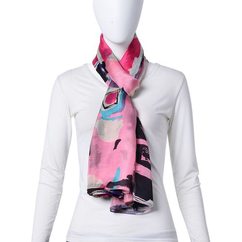 100% Mulberry Silk Pink, Blue and Multi Colour Abstract Printed Scarf (Size 180X110 Cm)