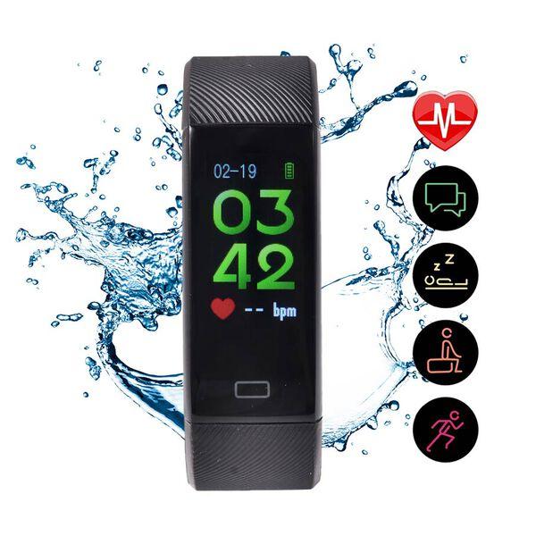 Health and Fitness Tracker Bluetooth IP67 Waterproof Smartwatch - Black
