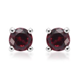 9K White Gold Red Spinel Stud Earrings (with Push Back)