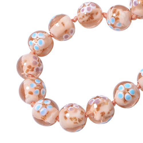 Millefiori Collection- Morganite Colour Murano Style  Glass Beads Necklace (Size 20) with Magnetic Lock