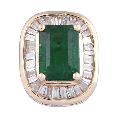 1.15 Ct AA Zambian Emerald and Diamond Halo Pendant in 9K Gold 1.17 Grams