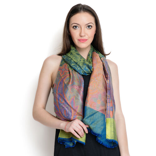 100% Modal Orange and Multi Colour Floral, Leaves and Paisley Pattern Lime Green Colour Jacquard Scarf (Size 190x70 Cm)