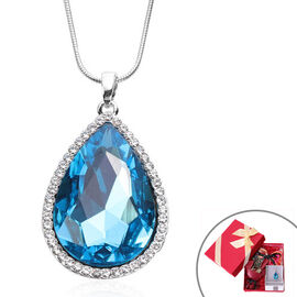 3 Piece Set - Simulated Sky Blue Topaz, White Austrian Crystal Pendant with Chain (Size 24 with 3 in