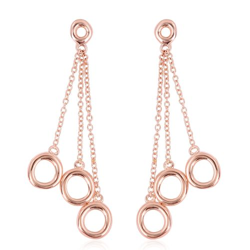 WEBEX- Rachel Galley Rose Gold Plated Sterling Silver Three Tassels Dangle Earrings, Silver wt 6.43
