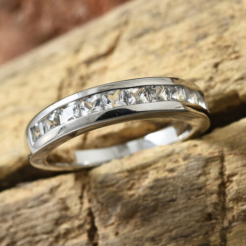RHAPSODY 950 Platinum AAAA White Sapphire (Sqr)  Half Eternity Ring 1.000 Ct.