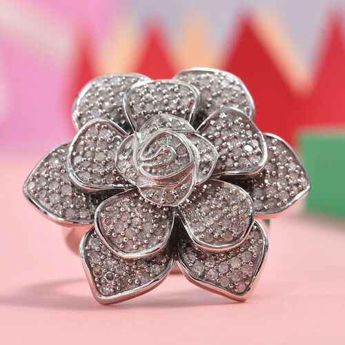 Designer Inspired- Diamond Floral Ring in Platinum Overlay Sterling Silver 1.50 Ct, Silver wt 11.56