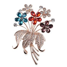 Silmulated Multicolour Gemstone (Pear) and White Austrain Crystal Flower Bunch Brooch in Rose Gold P