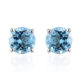 9K White Gold AA Swiss Blue Topaz (Rnd) Stud Earrings (With Push Back) 2.000 Ct.