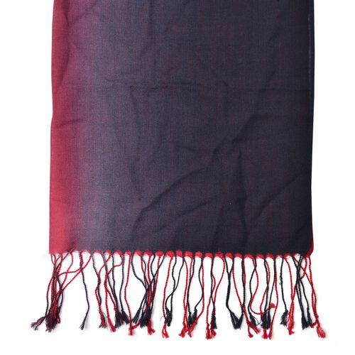 100% Wool Red and Black Colour Scarf with Tassels (Size 180x70 Cm)