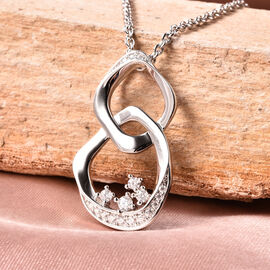 LucyQ Fluid Collection - Moissanite Pendant With Chain (Size 30) in Rhodium Overlay Sterling Silver, Silver wt 11.17 Gms