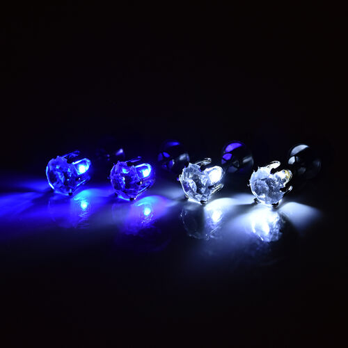 Set of 2 -  White Austrian Crystal with Blue and White LED Light Stud Earrings (with Push Back) in Silver Tone