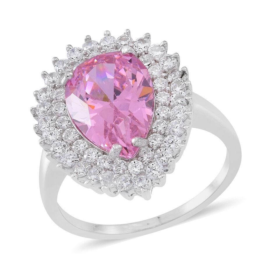 ELANZA Simulated Kunzite, Simulated White Diamond Ring in Silver ...