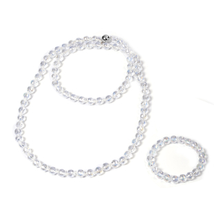 2 Piece Set -  Simulated AB Crystal Necklace (Size 36) with Magnetic Lock and Stretchable Bracelet (