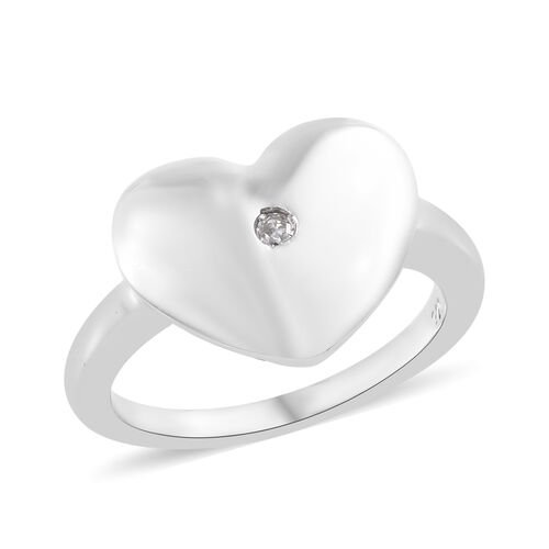 High Finish Diamond Heart Ring in Platinum Plated Sterling Silver