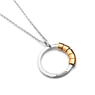 """Personalised Engraved Two Tone Secret Name Circle Necklace, Size 20"""""""