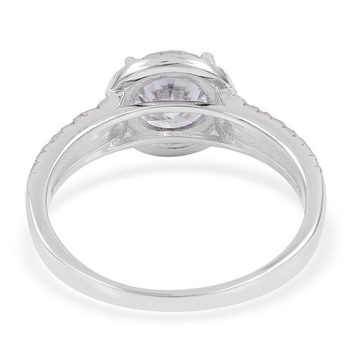 ELANZA AAA Simulated White Diamond Ring in Rhodium Plated Sterling Silver, Silver wt 3.06 Gms.