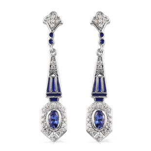 Tanzanite and Natural Cambodian Zircon Dangling Earrings in Platinum Overlay Sterling Silver 1.11 Ct