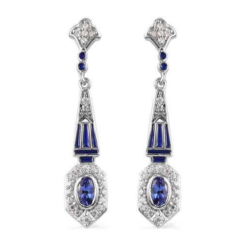Tanzanite and Natural Cambodian Zircon Dangling Earrings in Platinum Overlay Sterling Silver 1.00 Ct