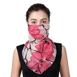 2 in 1 Flower Pattern Chiffon Soft Feel Scarf and Protective Face Cover (Size 45x45 Cm) - Red and Of