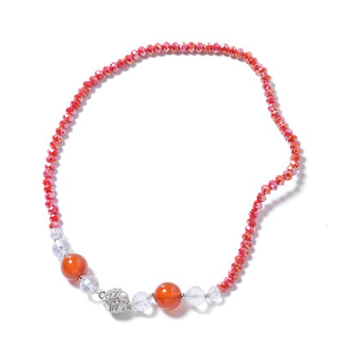 Set of 2- Red Agate, Simulated Red Garnet, Simulated Diamond, White Austrian Crystal and Multi Colour Beads Necklace (Size 18) and Bracelet  (Size 8)