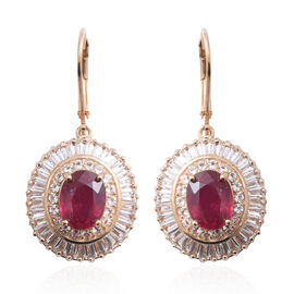 African Ruby (Ovl 5.00 Ct), White Topaz Lever Back Earrings in Yellow Gold Overlay Sterling Silver 12.050 Ct, Silver wt 5.10 Gms.