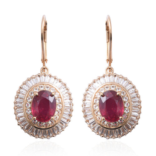 African Ruby (Ovl 5.00 Ct), White Topaz Lever Back Earrings in Yellow Gold Overlay Sterling Silver 1