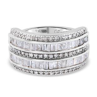 GP Diamond and Kanchanaburi Blue Sapphire Ring in Platinum Overlay Sterling Silver 1.160 Ct.