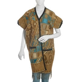 Hand Embroidered Adda Work - Floral Pattern Coffee and Teal Colour Geometry Kimono (One Size)