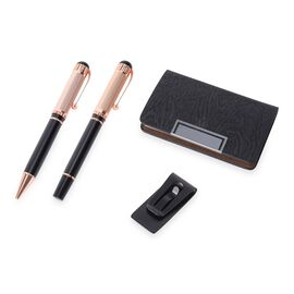 4 Piece Set - 2 Pen, 1 Money Clip and 1 Card Holder (Size 14x1.8 Cm) - Black and Rose Gold