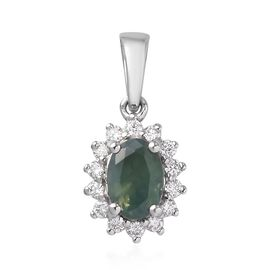 RHAPSODY 950 Platinum AAAA Narsipatnam Alexandrite and Diamond (VS/E-F) Halo Pendant  0.65 Ct.